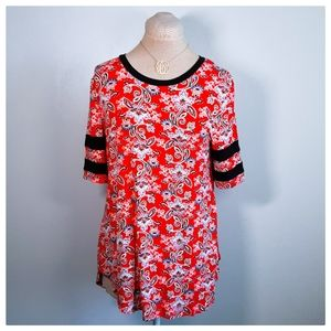 MAURICES Red Paisley Short Sleeve Tunic
